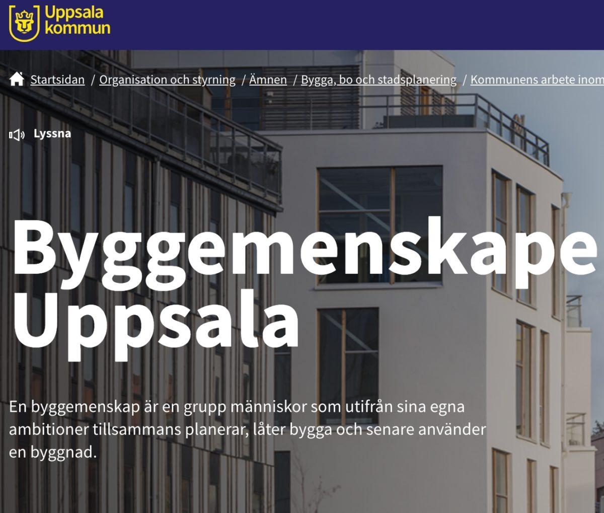 Uppsala erbjuder tomter för byggemenskaper