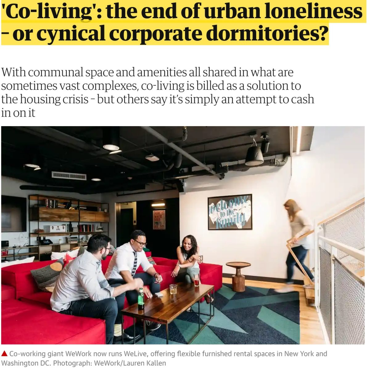 Coliving – a way to avoid loneliness or cynical corporate dormitories?