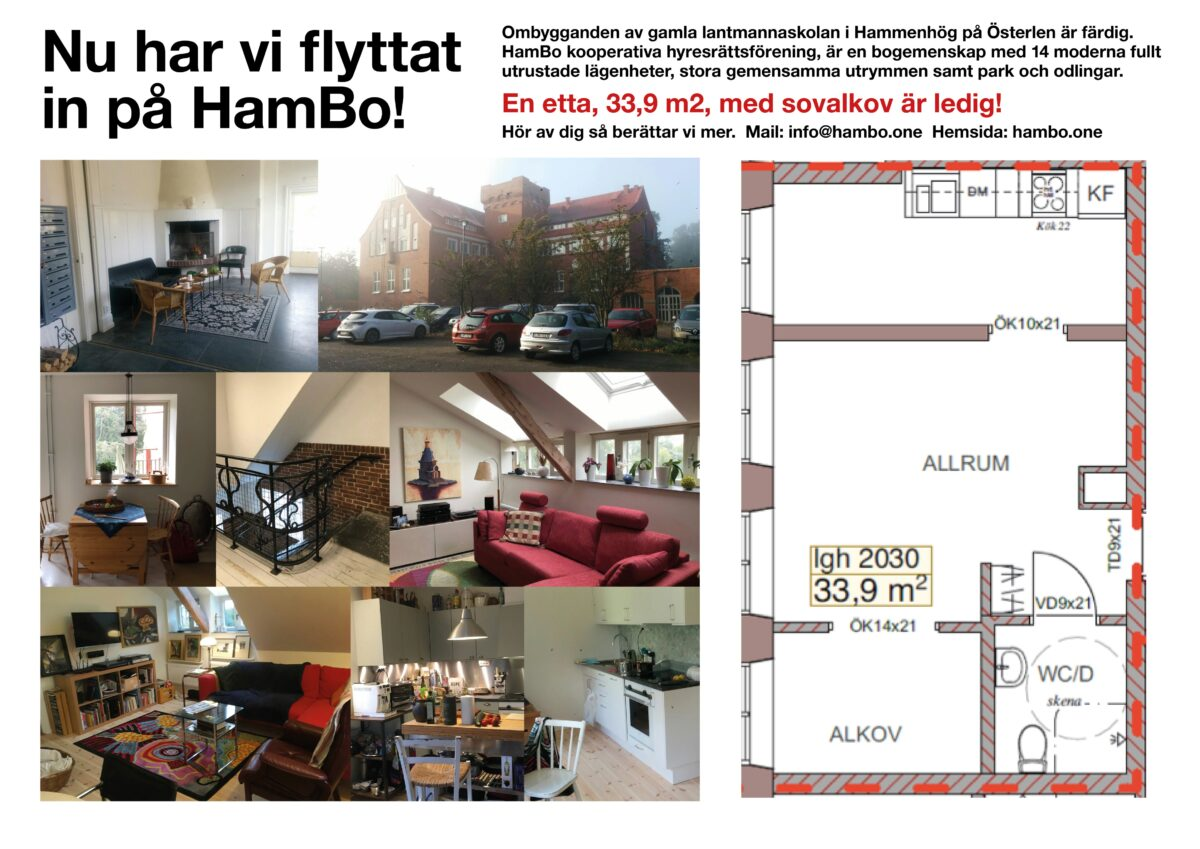 Ledig lägenhet i HamBo